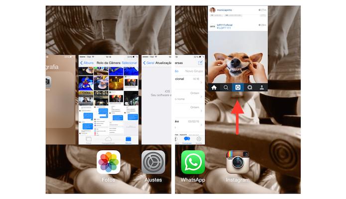 Fechando um aplicativo aberto em segundo plano no iPhone 4 com iOS 7 (Foto: Reprodução/Marvin Costa)