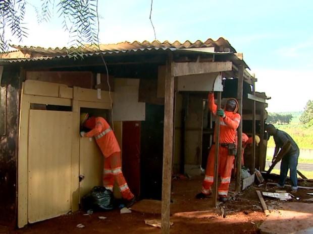 Reintegração de posse ordenou retirada de barracos às margens de rodovia no Jardim Progresso, em Ribeirão Preto (Foto: Cláudio Oliveira/EPTV)