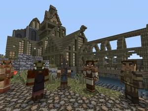 Personagens de 'Minecraft' com 'skins' de 'Skyrim' (Foto: Divulgação/Bethesda)