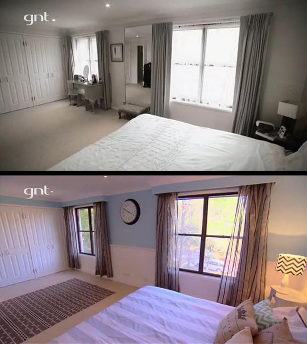 Antes e depois, sute casal, banheiro com banheira, rei da reforma (Foto: Divulgao/GNT)
