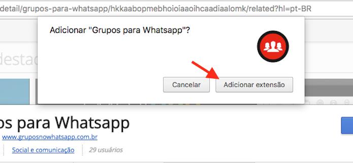 Opção para baixar e instalar a extensão Grupos para WhatsApp no Google Chrome (Foto: Reprodução/Marvin Costa)