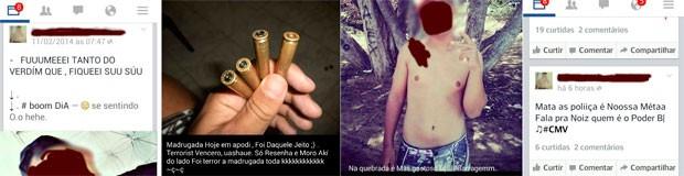 Imagens que estão no perfil do adolescente no Facebook foram enviadas ao G1 pela polícia