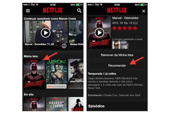 Acessando a ferramenta de recomendações de títulos do Netflix no iPhone (Foto: Reprodução/Marvin Costa)