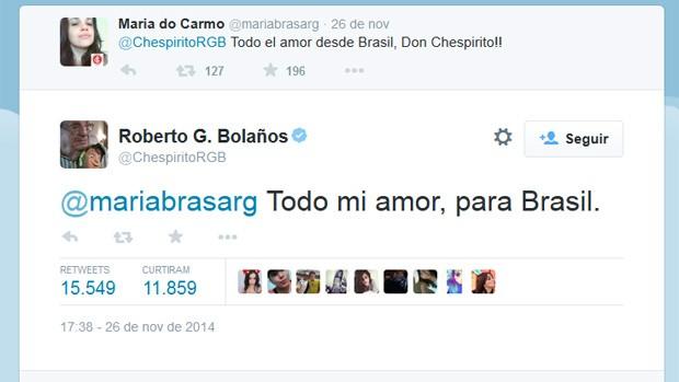 Mexicano respondeu brasileira no Twitter na quarta-feira (Foto: Reprodução/Twitter)