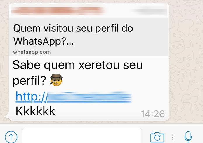 """Mensagem promete informar """"Quem visitou seu perfil no WhatsApp"""" (Foto: Divulgação/Kaspersky Lab)"""