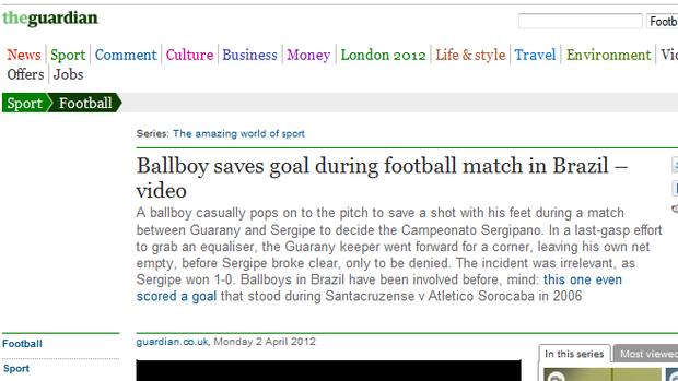 The Guardian também publicou o caso (Foto: Reprodução)