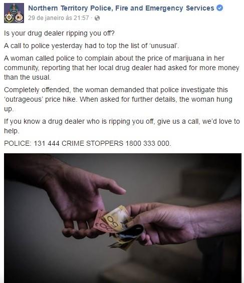 Resultado de imagem para Mulher liga para polícia para reclamar do preço da maconha