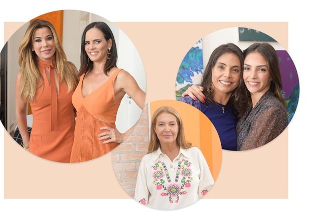 Da esquerda para a direita: Lucinha Mauro e Emar Batalha, Donata Meirelles e Rosangela Lyra ao lado de Carol Celico  (Foto: Arte Vogue Online)