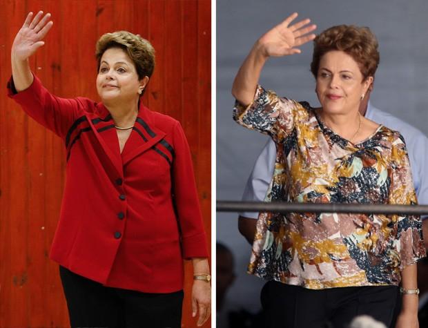 Combinação de fotos mostra a presidente Dilma Rousseff após a votação no primeiro turno das eleições, em outubro de 2014 e durante cerimônia de entrega do programa Minha Casa, Minha Vida, em maio de 2015 (Foto: Dida Sampaio/Estadão Conteúdo/Arquivo e Fábio Motta/Estadão Coteúdo)