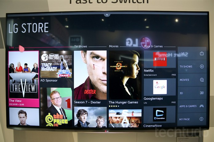 TVs da LG vêm com lojas de aplicativos e mídias como filmes e séries (Foto: Fabricio Vitorino/ TechTudo)