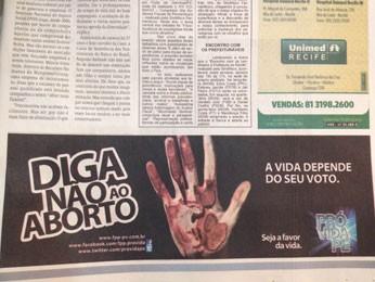 Campanha veiculada no Diário de Pernambuco de domingo (Foto: G1 Pernambuco)