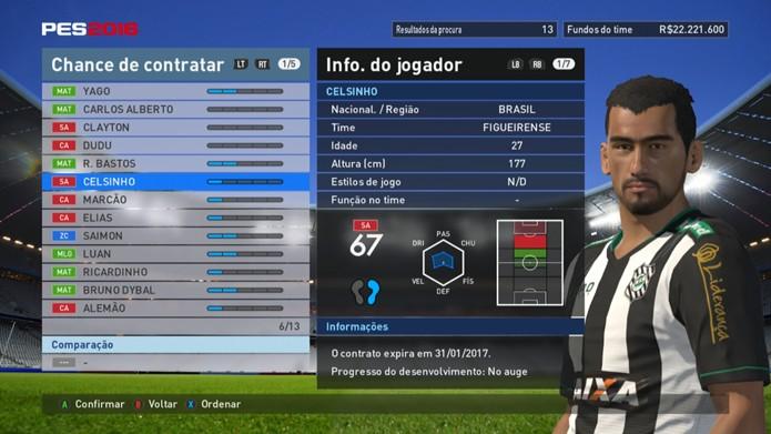 Celsinho é um dos nomes do ataque nada empolgante do Figueirense em PES 2016 (Foto: Reprodução/Murilo Molina)