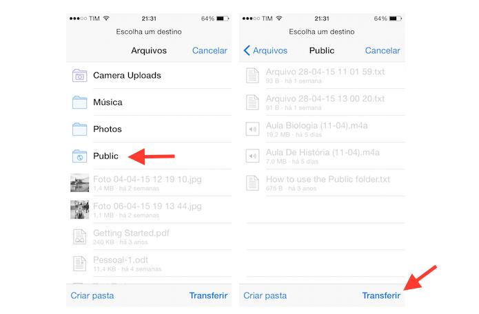 Transferindo um arquivo de uma pasta para outro no Dropbox para iOS (Foto: Reprodução/Marvin Costa)