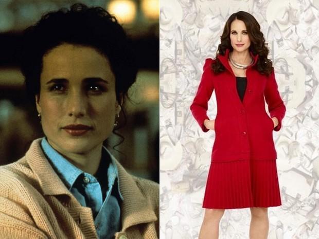 A atriz Andie MacDowell em 'Feitiço do tempo' (1993) e na série 'Jane by design' (2011) (Foto: Divulgação/Disney)