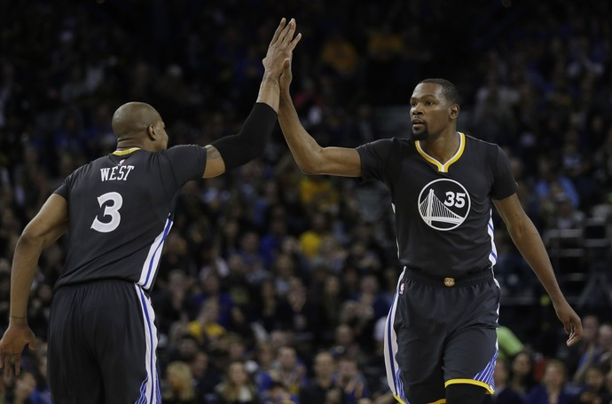 Kevin Durant Golden State Warriors NBA David West (Foto: AP Photo/Marcio Jose Sanchez)