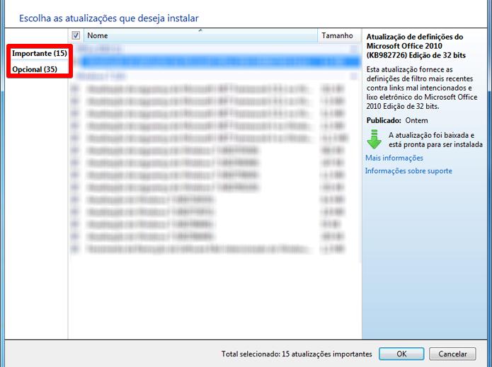 Lista conta com novas atualizações liberadas para o Windows 7. Drivers podem aparecer tanto nas consideradas importantes como naquelas tidas como opcionais (Foto: Reprodução/Filipe Garrett)