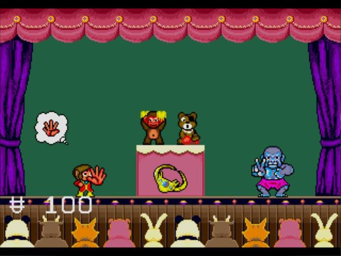 Tudo poderia ser resolvido num jogo de Pedra, Papel ou Tesoura em Alex Kidd in the Enchanted Castle (Foto: Reprodução/ YouTube)