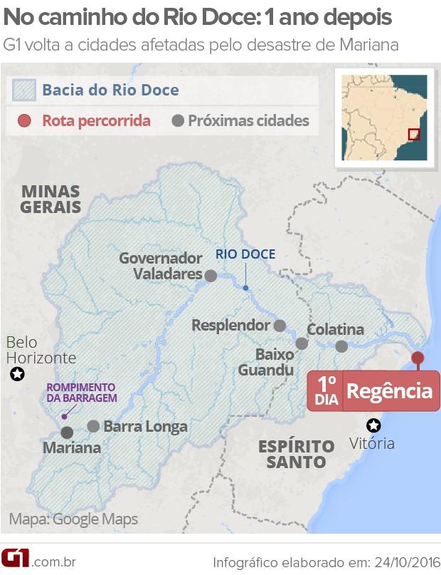 Mapa Rio Doce - Mariana 1 ano depois (Foto: Editoria de arte/G1)