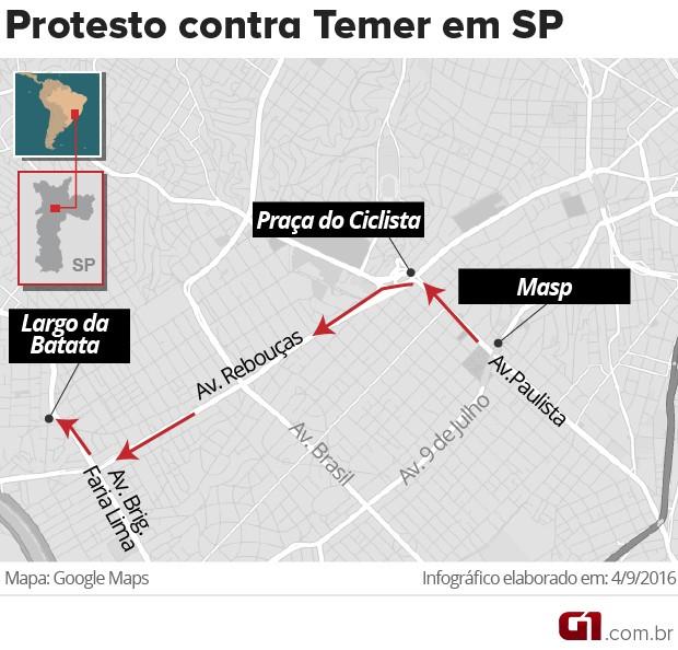 Mapa do protesto contra Temer em São Paulo (Foto: Editoria de Arte/G1)