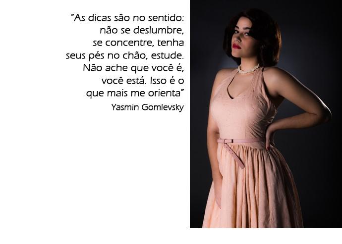 Yasmin Gomlevsky sobre relação com elenco experiente (Foto: Fábio Rocha / Gshow)
