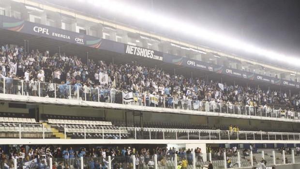 Torcida faz festa em Santos (Foto: Gustavo Tilio / Globoesporte.com)