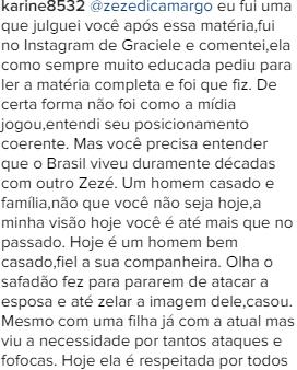 Zezé rebate seguidora no Instagram. (Foto: Reprodução/Instagram)
