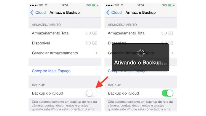 Ativando o backup na nuvem do iCloud em um iPhone (Foto: Reprodução/Marvin Costa)