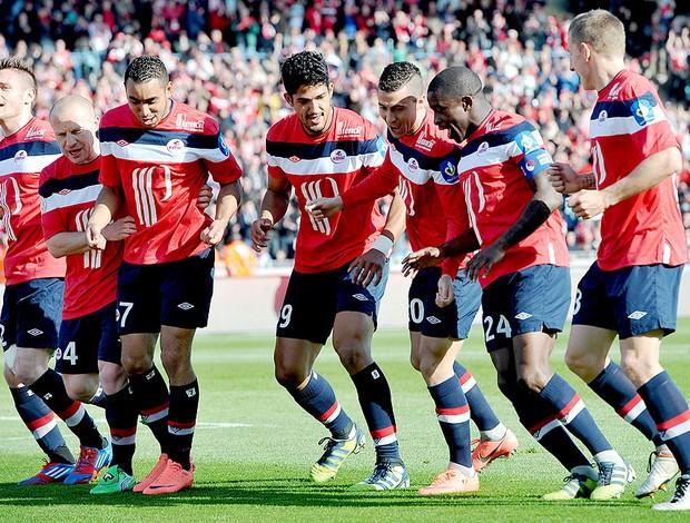 Eden Hazard comemora gol do Lille contra o Toulouse (Foto: AFP)