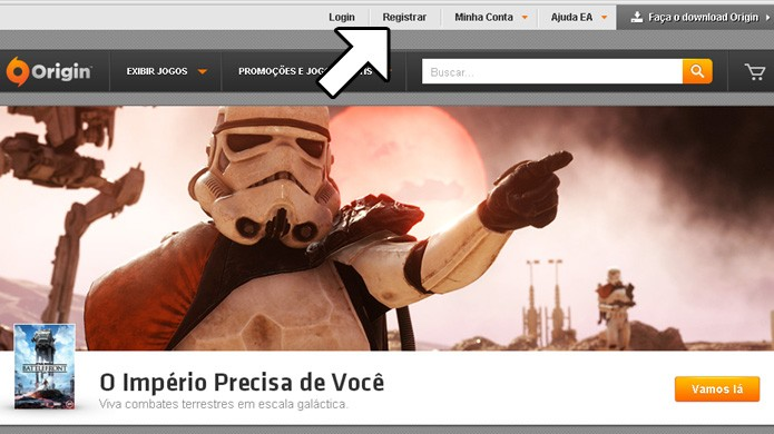 A opção para se registrar na loja digital Origin fica um pouco escondida no topo do site (Foto: Reprodução/Rafael Monteiro)
