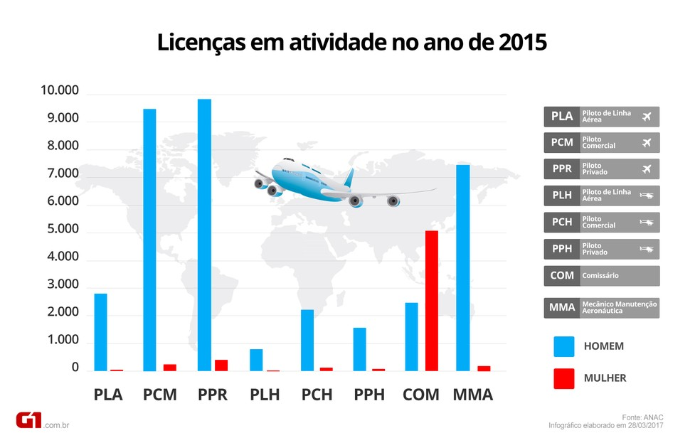 Gráfico de licenças em atividades na aviação no ano de 2015 (Foto: Matheus Rodrigues/EPTV )
