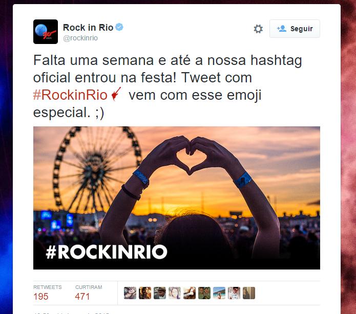 Tuítes com a hashtag do Rock In Rio exibem emoji customizado para o festival (Foto: Reprodução/Twitter)