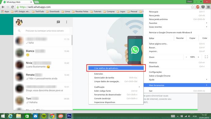 WhatsApp Web pode ser fixado na barra de tarefas do Windows através do menu do Google Chrome (Foto: Reprodução/Elson de Souza)