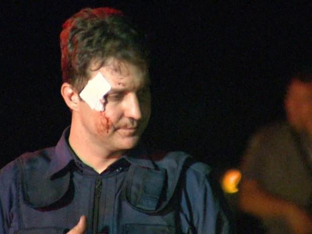 Vigilante ficou ferido durante explosão de carro-forte em Guatapará, SP (Foto: Fábio Júnior/EPTV)