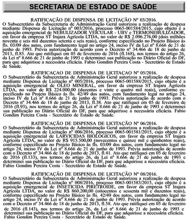 Contratos fechados pela Secretaria de Saúde do Distrito Federal e a Futuro Fértil (Foto: Reprodução)