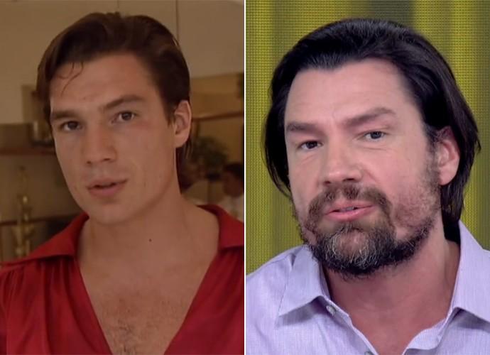 Antes e depois! À esquerda, Ricardo Macchi na fase de preparação para viver o cigano Igor, de Explode Coração, e, à direita, durante entrevita no 'Vídeo Show' (Foto: Vídeo Show / TV Globo)