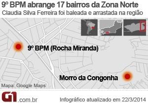 9º BPM (Rocha Miranda) e Morro da Congonha (Foto: Arte/G1)