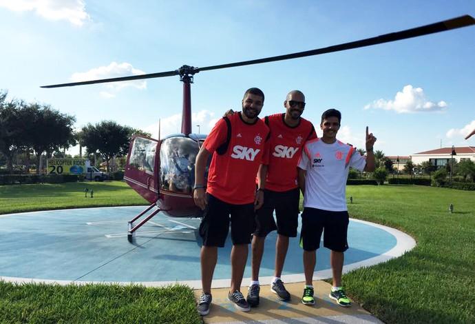 Olivinha, Marquinhos e Danielzinho andam de helicóptero em Orlando (Foto: Arquivo Pessoal)