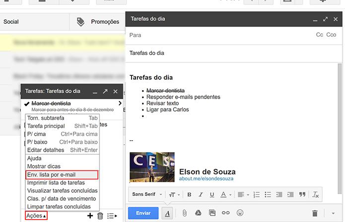 Google Tarefas permite enviar lista de atividades por e-mail (Foto: Reprodução/Elson de Souza)