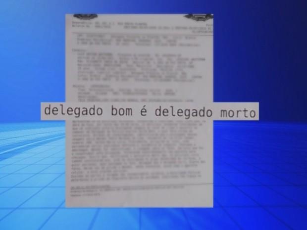 Boletim de ocorrência diz que suspeito escreveu 'delegado bom é delegado morto' (Foto: Reprodução/ TV TEM)