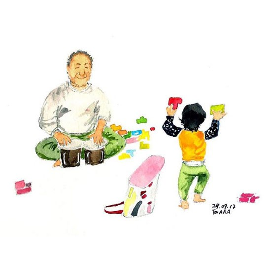 Chan brincando com Astro (Foto: Reprodução - Instagram)