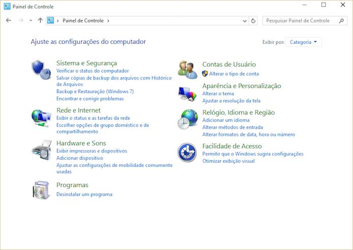 Aprenda a acessar o Painel de Controle antigo do Windows 10 (Foto: Reprodução/Helito Bijora)