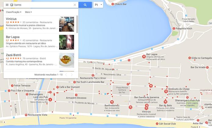 Estabelecimentos específicos buscados no Google Maps (Foto: Reprodução/Marvin Costa)
