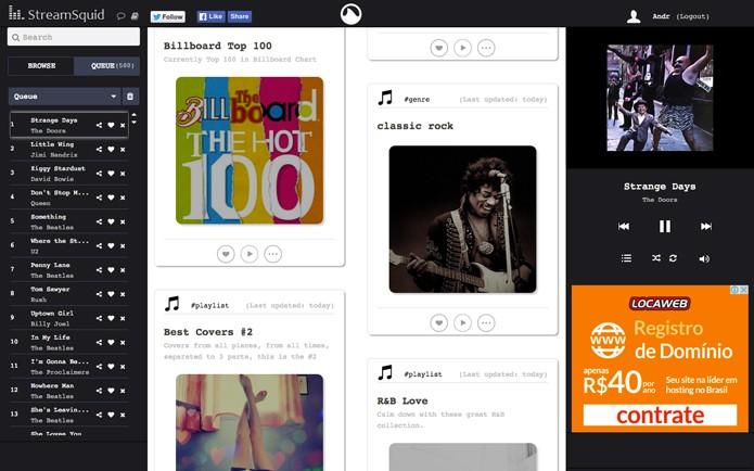 O Streamsquid oferece visual bem enxuto com todos as opções em uma única página (Foto: Reprodução/André Sugai)