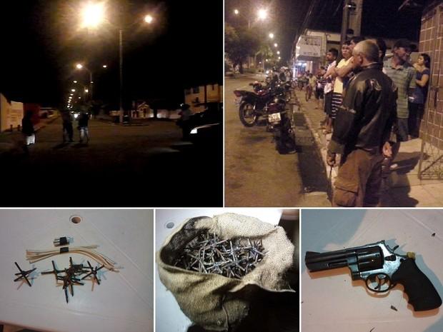 Cerco aconteceu no Centro de Parnamirim, onde população ficou apreensiva. Artefatos e uma arma foram encontrados com os suspeitos (Foto: Jean Moura/G1 e Divulgação/Polícia Militar)