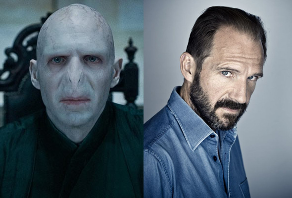 Ralph Fiennes como Voldemort e na vida real (Foto: Divulgação)