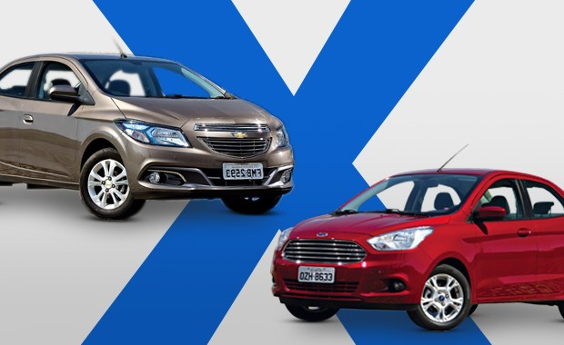 Chevrolet Prisma e Ford Ka+ (Foto: Autoesporte)