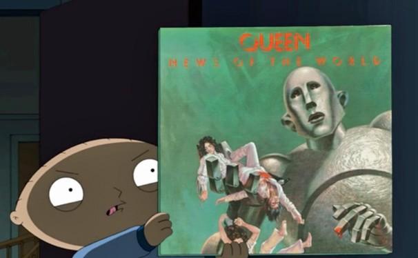 Stewie fica aterrorizado com o robô que ilustra a capa do disco do Queen (Foto: Divulgação)