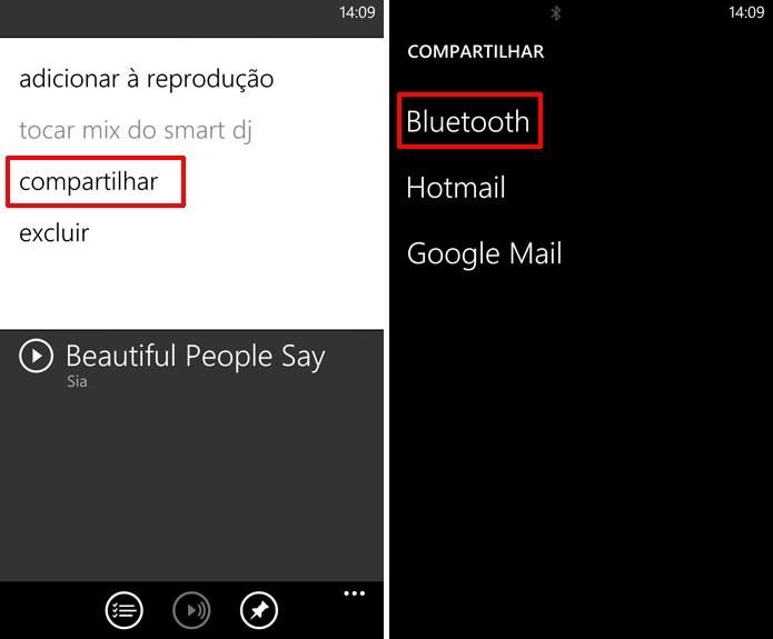 Escolha a opção Compartilhar no Xbox Música+Video para enviar uma faixa no seu Windows Phone (Foto: Reprodução/Elson de Souza)