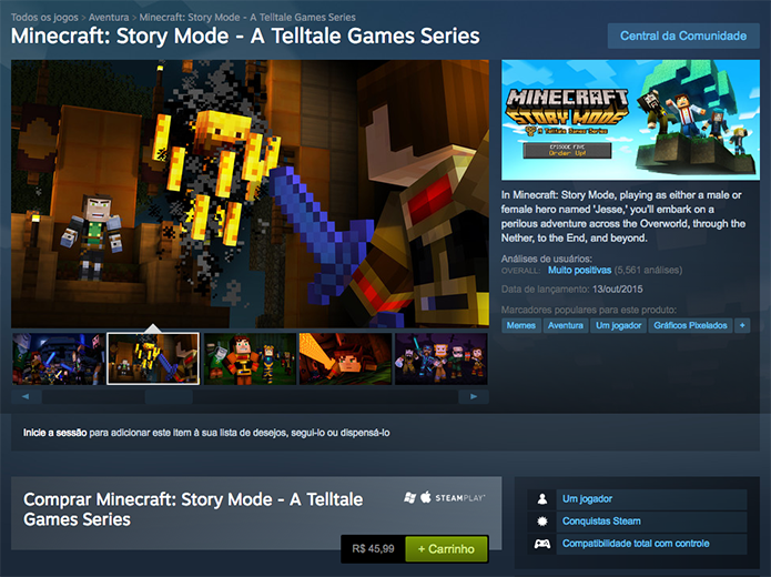 Adicione o Minecraft: Story Mode ao carrinho do Steam (Foto: Reprodução/Murilo Molina)