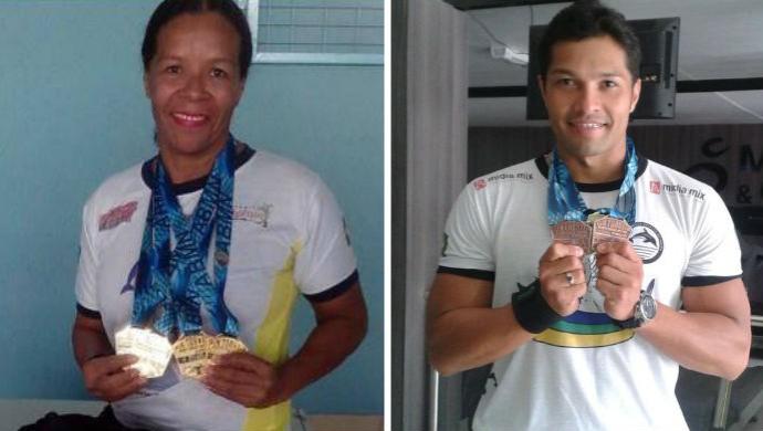 Lucinilda Rosário e Eliel Oliveira, nadadores do AP (Foto: GloboEsporte.com)